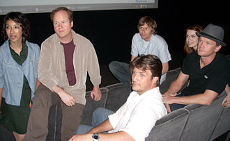 Joss Whedon - Whedon with the cast and crew of Dr. Horrible's Sing-Along Blog at its Creative Artists Agency theater screening.