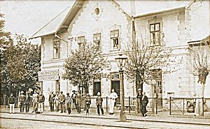 Dunajská Streda - A sepia photo of the city's train station from the early 1930s featuring a bilingual place sign