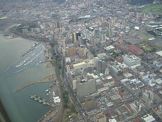 John Ross House (Durban, South Africa) - John Ross House is prominent in the foreground of this aerial photograph of Durban
