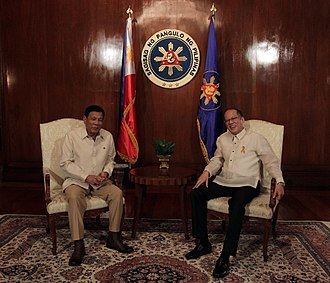 Presidency of Rodrigo Duterte - President-elect Rodrigo Duterte (left) and outgoing President Noynoy Aquino (right).
