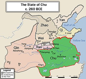 Classical Chinese poetry - Map of the Chu area, in one of its reconstructed historical configurations.