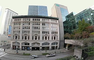 ACT Theatre - ACT Theatre's home, Kreielsheimer Place, the historic Eagles Auditorium Building. At right is the Washington State Convention and Trade Center.