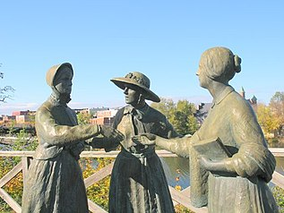 Statue immortalizing 1851 meeting of Elizabeth Cady Stanton, Susan B. Anthony & Amelia Bloomer in Seneca Falls, NY