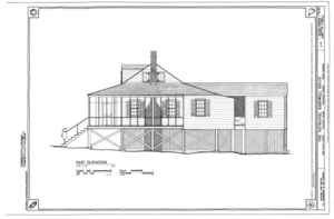 East Elevation - Nathaniel Barnwell House, 1023 Middle Street, Sullivans Island, Charleston County, SC HABS SC-875 (sheet 7 of 12).png