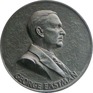 Medallion depicting George Eastman hanging in ...
