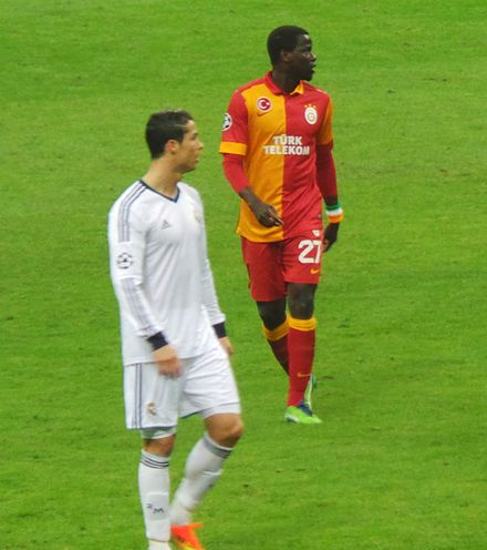 Betting advertisements are banned in Turkey. On 9 April 2013, Real Madrid (whose shirt sponsors were bwin at the time) were required to wear sponsor-free jerseys while playing against Galatasaray in Istanbul. Eboue Ronaldo.JPG