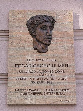 Edgar G. Ulmer - Memorial plaque devoted to Ulmer in Olomouc