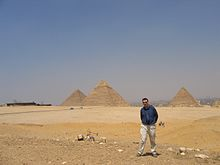 David Eicher at the Giza Pyramids, Egypt, at the time of the transit of Venus, June 2004.