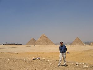 David J. Eicher - David Eicher at the Giza Pyramids, Egypt, at the time of the transit of Venus, June 2004.