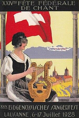 Sängerfest - Postcard of the 1928 Lausanne Sängerfest
