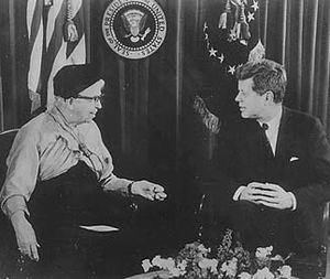 International volunteering - Eleanor Roosevelt and President John F. Kennedy discuss the Peace Corps, 1961.