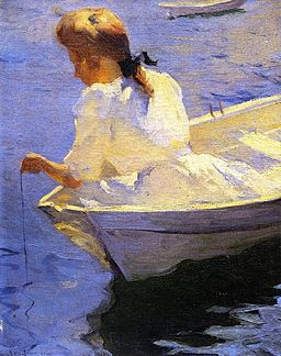 Eleanor in the Dory oil 1904 Frank Weston Benson