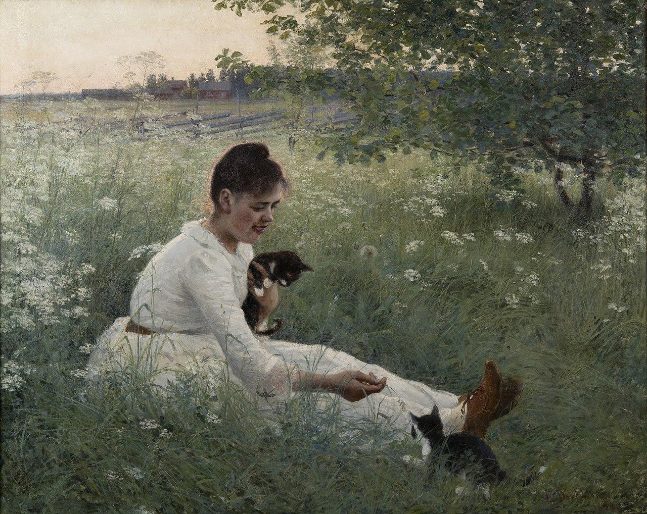 Элин Дэниэлсон-Гамбоги - Девушка с кошками в летнем пейзаже (1892) .jpg