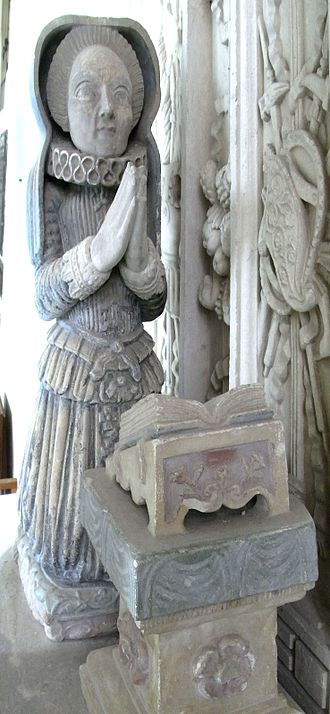 John Acland (died 1620) - Effigy of Acland's wife Elizabeth Rolle, in Broadclyst Church