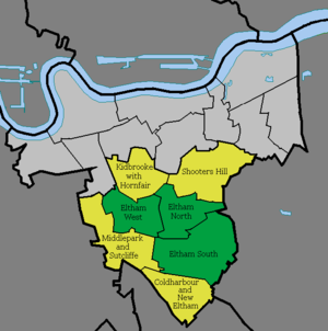 Eltham -  Map 1. The three current Eltham electoral wards (green), in the Eltham constituency (yellow) within the Royal Borough of Greenwich (light grey)