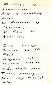 """Dickinson wrote and sent this poem (""""A Route to Evanescence"""") to Thomas Higginson in 1880."""