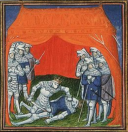 Enrique of Transtamare kills his half-brother Pedro I, king of Leon and Castile.jpg