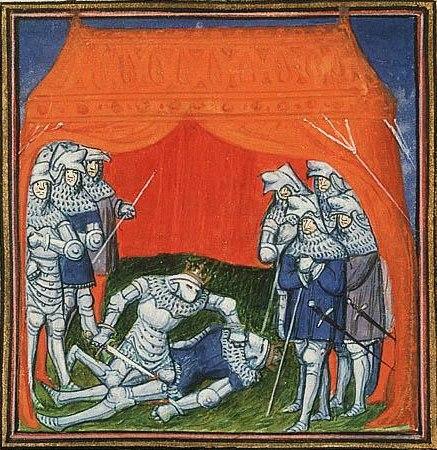Enrique of Transtamare kills his half-brother Pedro I, king of Leon and Castile