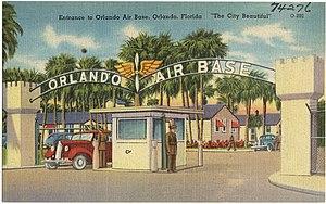 Orlando Executive Airport - Entrance to Orlando Air Base as shown on a postcard.