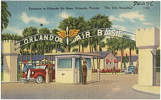 Orlando Executive Airport - Entrance to Orlando Air Base as shown on a postcard.