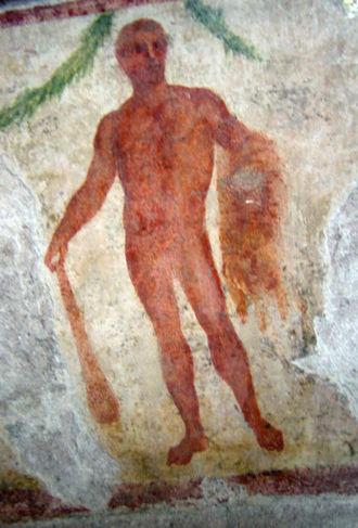 Cerne Abbas Giant - Roman god Hercules holding a club and the Nemean lion-skin fur