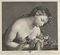Erigone leaning over a platter of grapes and lifting a piece of cloth with both hands, after Reni MET DP841454.jpg