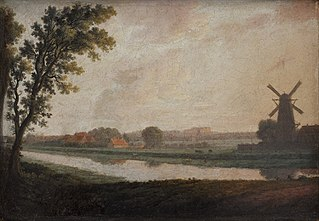 Landscape outside Copenhagen with Frederiksberg Church and Palace in the Distance