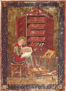 Esdra nello scriptorium, miniatura del Codex Amiatinus