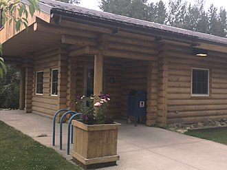 Ester, Alaska - The Ester Post Office, on Village Road, is constructed of locally sourced spruce logs.