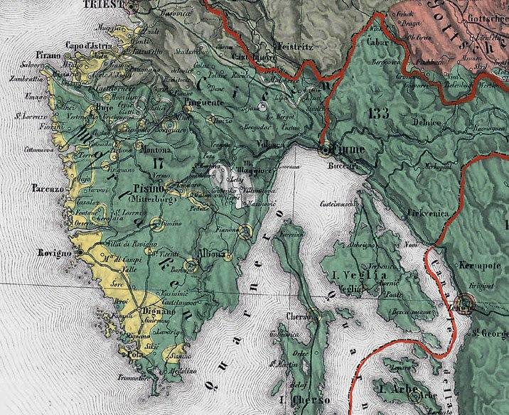 Ethnographic map of the Austrian Empire 1855 Czoernig - Istra