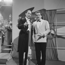 1=Conductor Alberto Semprini and singer Domenico Modugno at the 1958 Eurovision Song Contest in Hilversum
