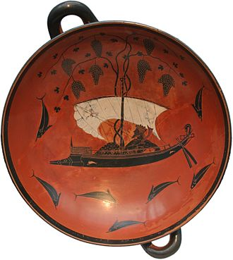 Eye-cup - Dionysos on a boat, sailing amongst dolphins. Attic black-figure kylix by Exekias, circa 530 BC. Found at Vulci. Dionysus cup: Staatliche Antikensammlungen, Munich.