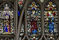 Exeter Cathedral east window detail, St Katherine and two Kings (36540161240).jpg