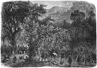 Mato Grosso Campaign - Brazilian expedition to Mato Grosso: Encampment of the Expeditionary Division in the virgin forests of Goiás.