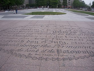 "Freedom Plaza - Oval inscribed in Freedom Plaza containing the title of the L'Enfant Plan followed by the words ""By Peter Charles L'Enfant"" (2006)"