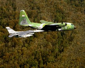South Carolina Air National Guard - Image: F 16C and C 130H South Carolina ANG in flight 1998