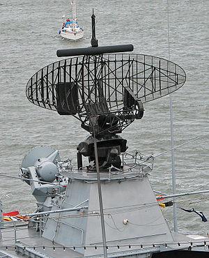 Radar lock-on - Search radar (large black dish) and illuminator radar (small grey dish) on board a German frigate