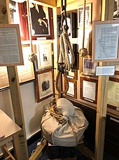 A noose, weights and chains set up to give an idea of the set up of a gallows