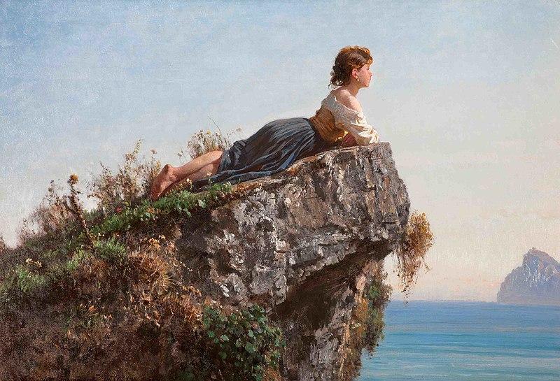 """Filippo Palizzi 1818-1899 - """"La fanciulla sulla roccia a Sorrento"""", 1871"""