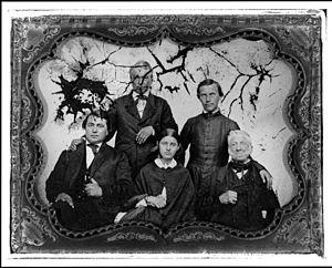 "Jean-Baptiste Faribault - Ambrotype (c. 1850) of ""George and Euphrasine Faribault's wedding portrait. Left to right, top: Alexander Faribault, Father Augustin Ravoux. Left to right, bottom: George Faribult, Euphrasine St. Antoine Faribault, Jean-Baptiste Faribault."""