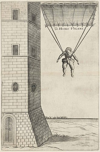"Fausto Veranzio - ""Machinae Novae"" plate n. 38: Veranzio's parachute"