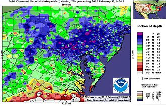 February 9–10, 2010 North American blizzard - February 9–10, 2010 North American blizzard Mid Atlantic Snowfall accumulation.(From the National Weather Service)