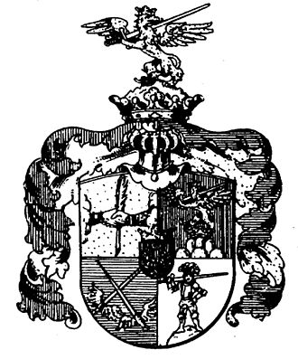 Federfechter - The Federfechter coat of arms shows two hands gripping a quill, a griffin holding a sword (repeated as the crest), two crossing winged swords and a swordsman armed with a Zweihänder.