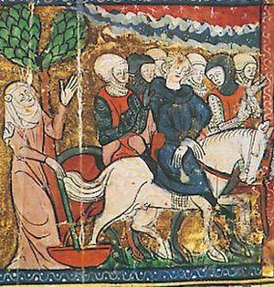 Joan, Countess of Flanders - Joan with her imprisoned husband Ferdinand after the Battle of Bouvines.  14th century, Grandes Chroniques de France, Bibliothèque municipale, Castres.