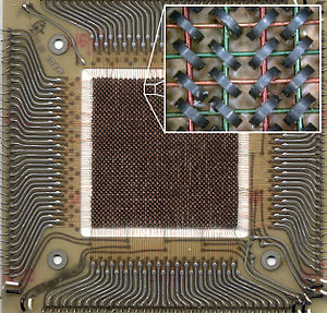 Magnetic-core memory - A 10.8×10.8 cm plane of magnetic core memory with 64 x 64 bits (4 Kb), as used in a CDC 6600. Inset shows word line architecture with two wires per bit