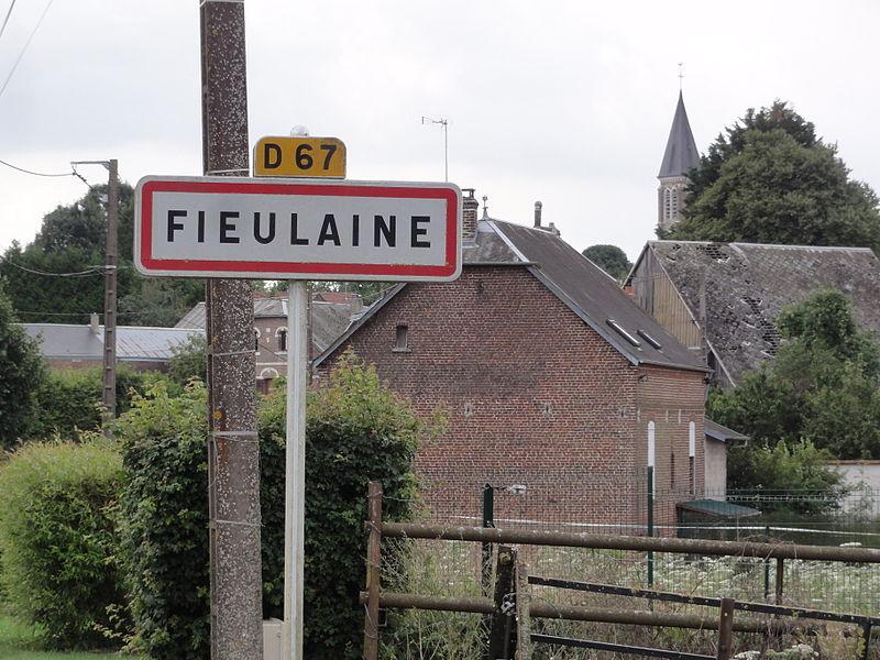 Fieulaine (Aisne) city limit sign