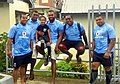 Fiji players and the captain's son June 2014.jpg