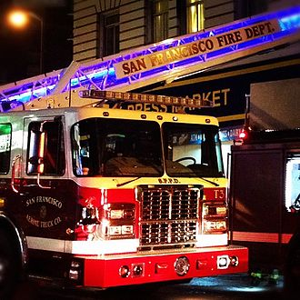 San Francisco Fire Department - SFFD Truck 3 operating at a fire in the Tenderloin.