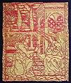 Firenze, tessuto con annunciazione, in lampasso lanciato, con seta e oro filato, 1490 ca.jpg