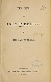 <i>The Life of John Sterling</i> book by Thomas Carlyle